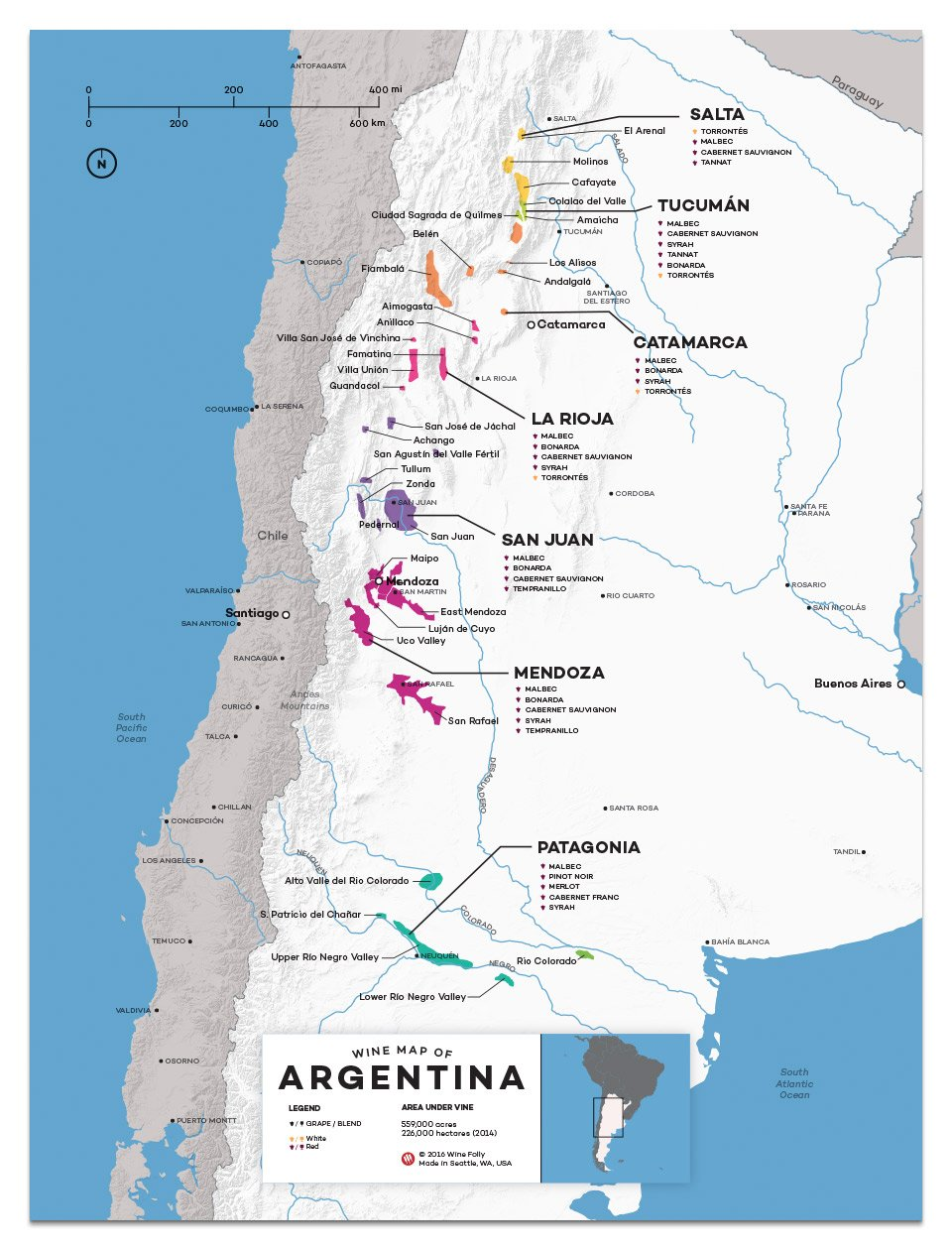 Argentina wine map wine tours wine tasting argentina wine map showing the many wine regions throughout this huge south american country gumiabroncs Choice Image